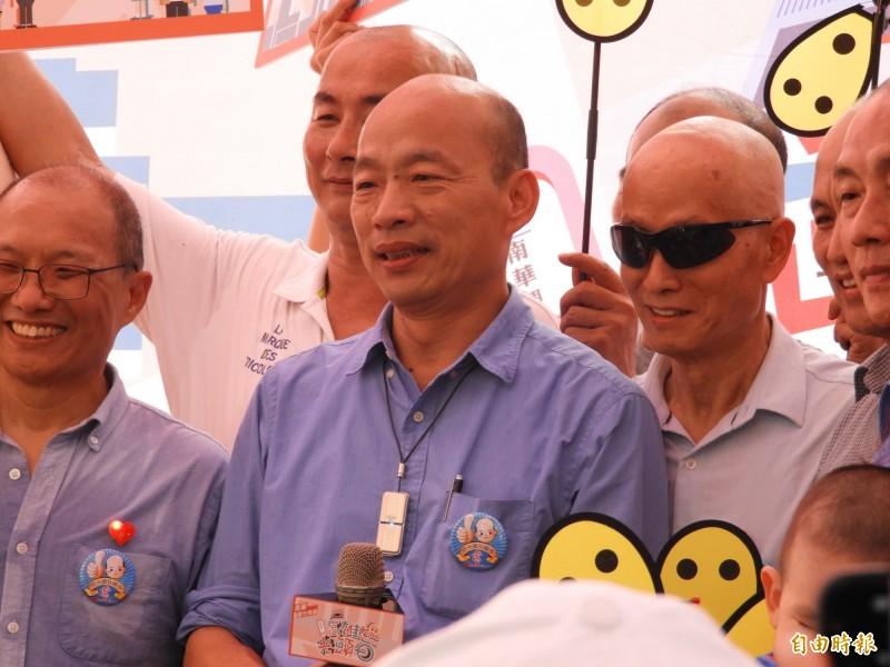 韓國瑜今天下午參加高雄光頭日記者會。(記者葛祐豪攝)