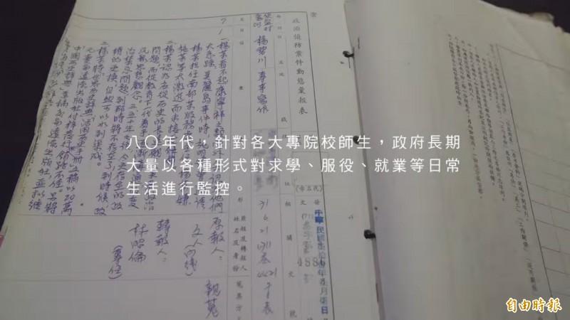 情治單位的抓耙子將楊碧川的人生經歷,寫進「政治偵防案件動態彙報表」中。(記者陳鈺馥翻攝)