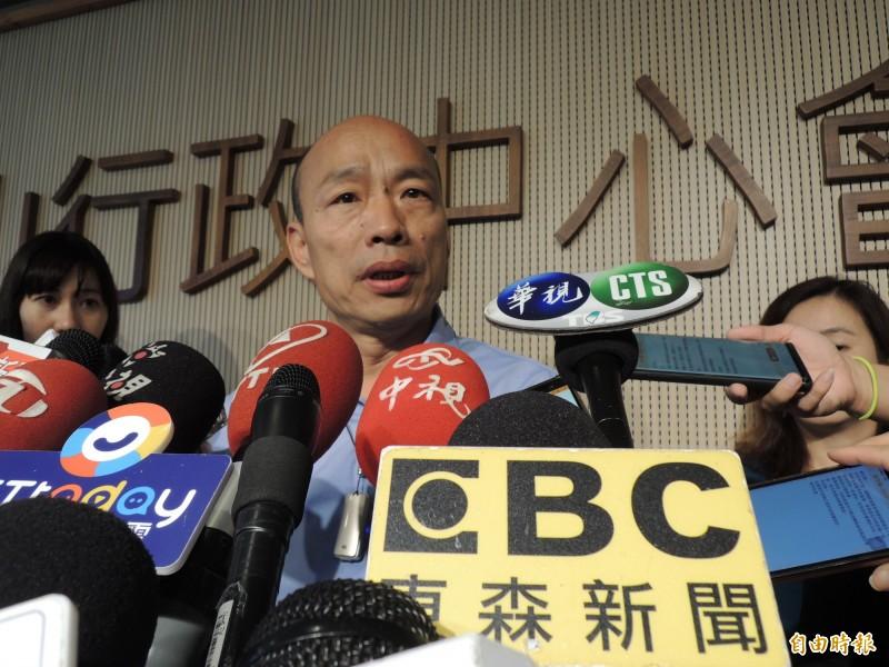 傅崐萁有幫忙凱道造勢籌畫嗎?韓國瑜沒有否認,只說很多團體幫忙。(記者王榮祥攝)