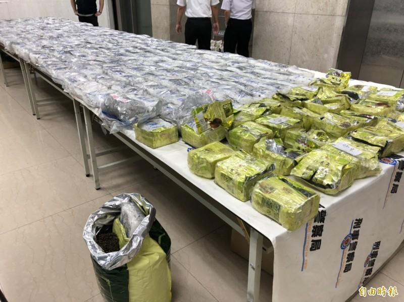 警查獲越南進口茶葉夾藏市價6億的400公斤安毒。(記者邱俊福攝)