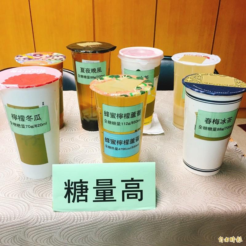 董氏基金會調查發現,含糖量最高的手搖飲是蜂蜜檸檬蘆薈。(記者林惠琴攝)