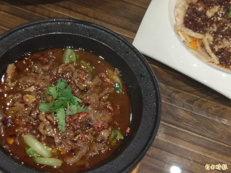 瀟湘園的水煮牛肉香滑開胃。(記者王善嬿攝)