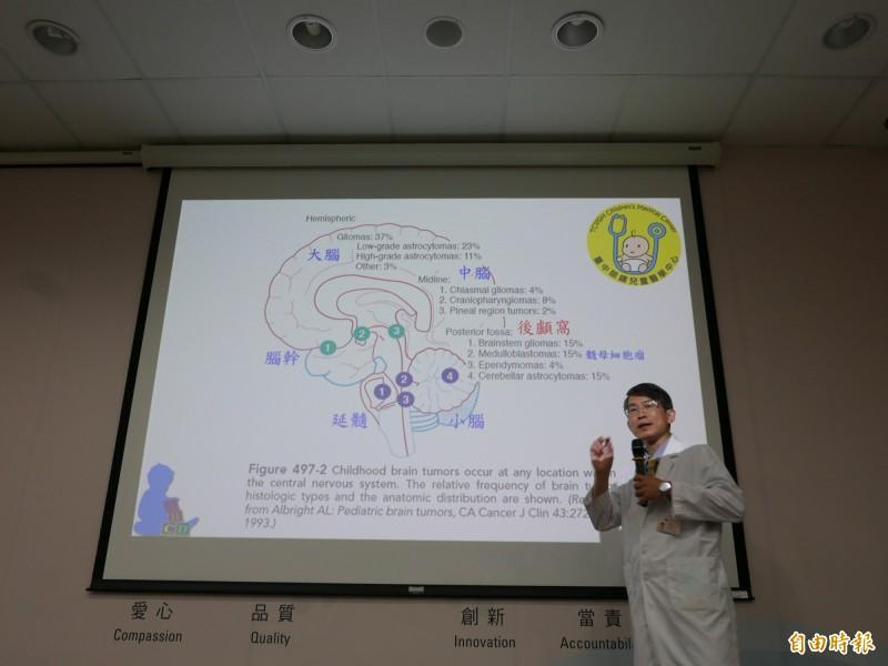 醫師黃芳亮指出,浩浩在小腦長出髓母細胞瘤,位於小腦、腦幹附近的後顱窩區,容易引起後顱窩症後群。(記者蔡淑媛翻攝)
