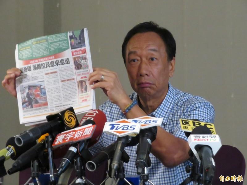 郭台銘說,《中國時報》「黑郭」是為了向國台辦邀功,更爆是旺中集團老闆蔡衍明不甘心把首富讓給他。(記者何玉華攝)