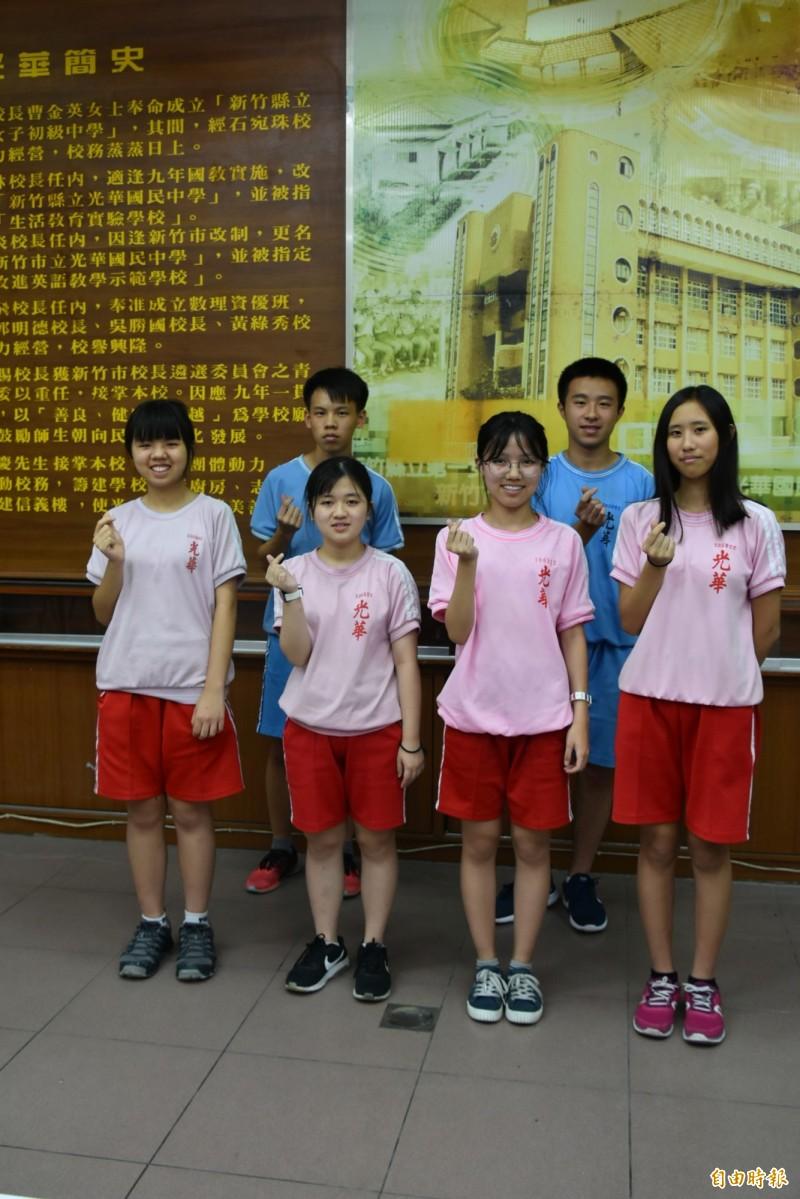 新竹市光華國中今年有11個學生考到5A10+,學生表現優異。(記者洪美秀攝)