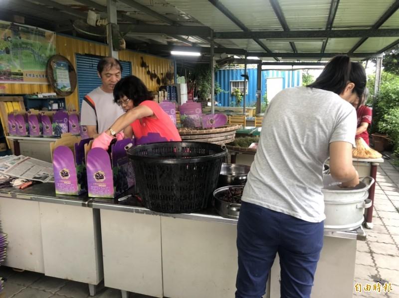 湖埔社區大學發起幫農民認購,將採收果實裝箱。(記者陳冠備攝)