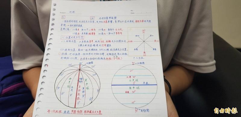 董珈甄的筆記整理功夫深,她自己還畫圖描繪整理,加深印象。(記者俞肇福攝)