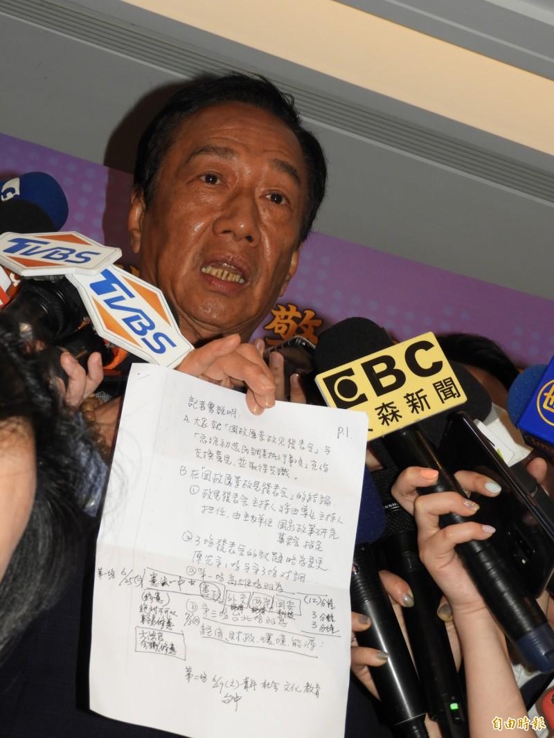 鴻海集團董事長郭台銘今天拿出黨中央要求候選人照稿念的文件,再度砲轟黨中央,沒有管制各候選人的能力。(記者賴筱桐攝)