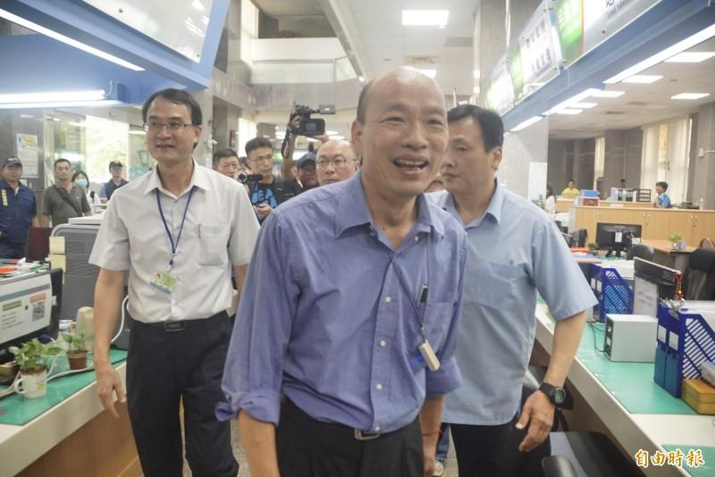高雄港生集會反送中,韓國瑜改口稱自己會派代表前去關心。(記者黃佳琳攝)