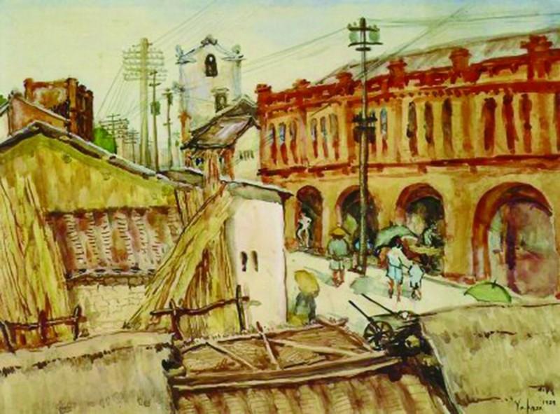 豐原區公所移撥葫蘆墩文化中心的葉火城畫作「豐原一角」。(擷取自台灣數位文化中心網頁)