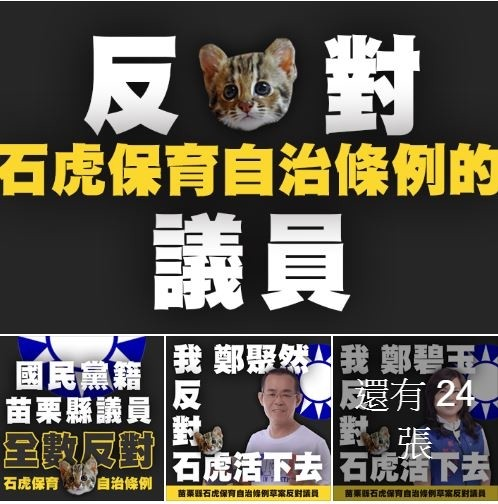 有網友以國民黨議員頭像修圖稱「我反對石虎活下去」,苗栗縣議會國民黨團將要提告。(翻攝臉書「吳濬彥 Wu Jun Yen 沒有在裡面團隊」)