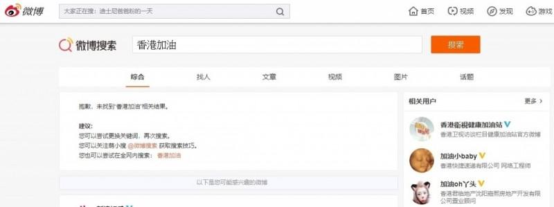 中國微博搜索「香港加油」查無結果。(翻攝微博網站)