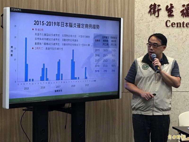 衛福部疾管署疫情中心副主任郭宏偉說明日本腦炎疫情。(記者林惠琴攝)