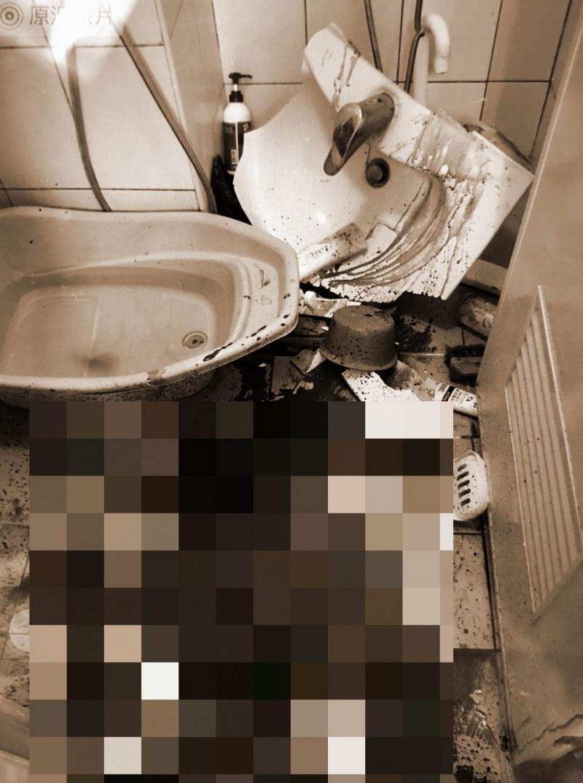 男童因習慣重壓洗手台,孰料洗手台卻破裂,男童也遭碎片割傷。(記者萬于甄翻攝)(記者萬于甄攝)