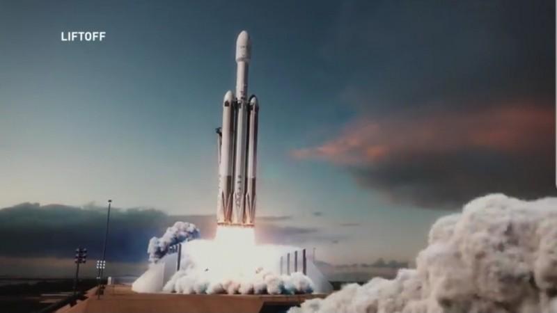 STP-2任務模擬畫面,福衛七號衛星的火箭發射模擬動畫。(取自SpaceX影片)