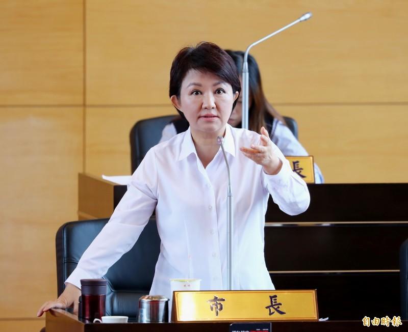 台中市長盧秀燕否認自稱是「媽媽市長」。(記者張菁雅攝)