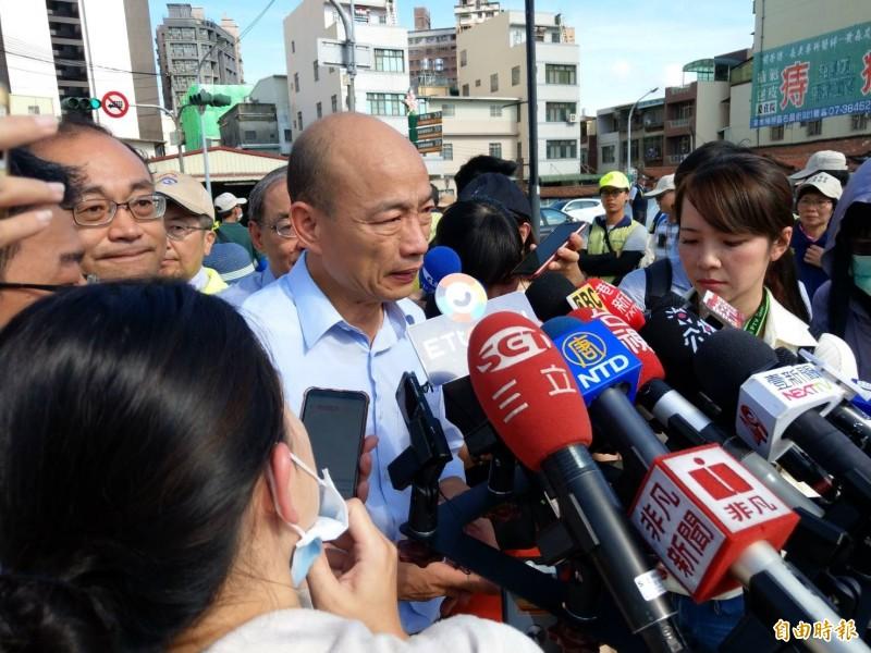 2大公民團體發起罷韓,韓國瑜受訪說:「我尊重他們,民主的社會。」(記者方志賢攝)