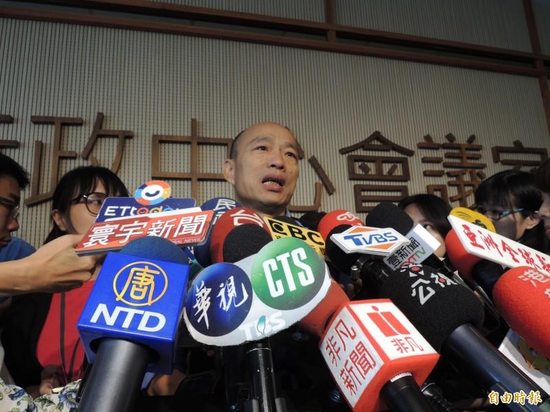 罷免活動延燒,韓國瑜表示尊重,但也感覺市府某些單位背後有影武者。(記者王榮祥攝)