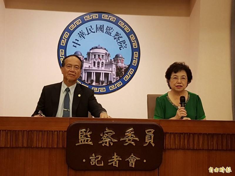 監察委員江綺雯(右起)、方萬富。(記者謝君臨攝)
