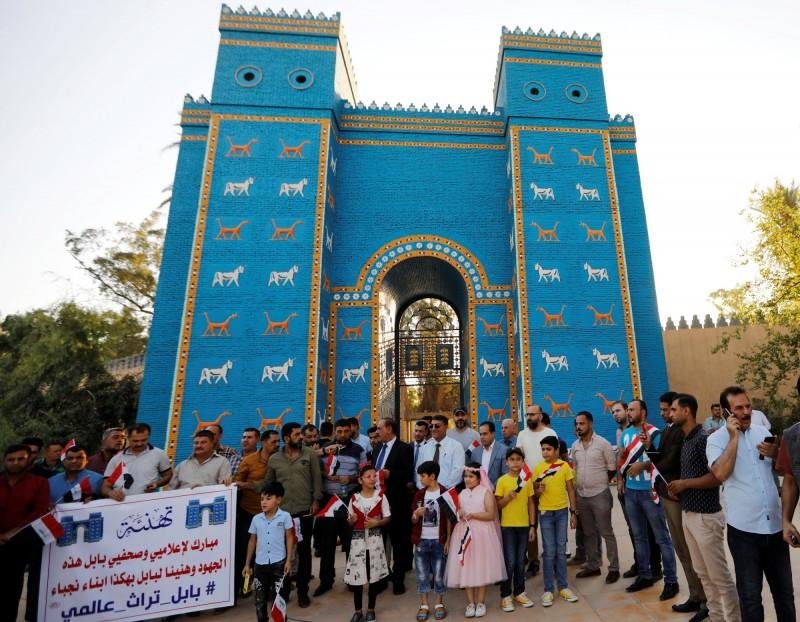 伊拉克人熱烈慶祝巴比倫古城列入世界遺產。(路透)