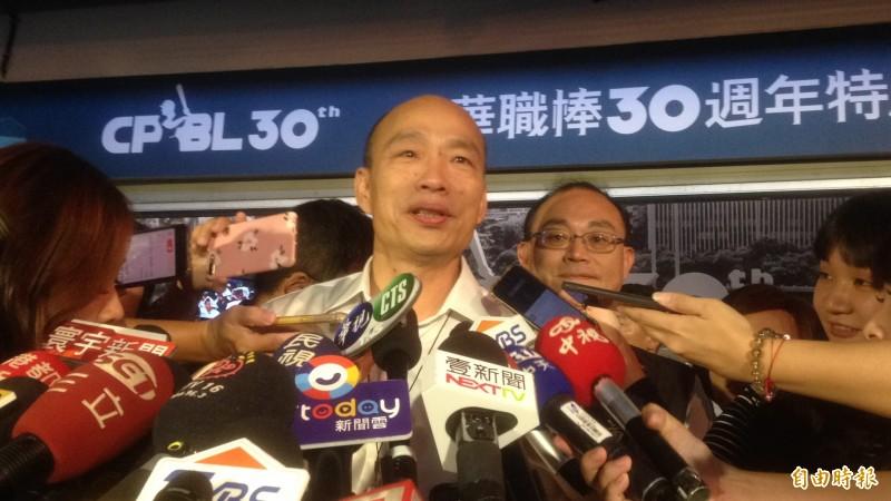 針對農舍被查,韓國瑜說,雲林縣政府該怎麼辦就怎麼辦。(記者黃旭磊攝)