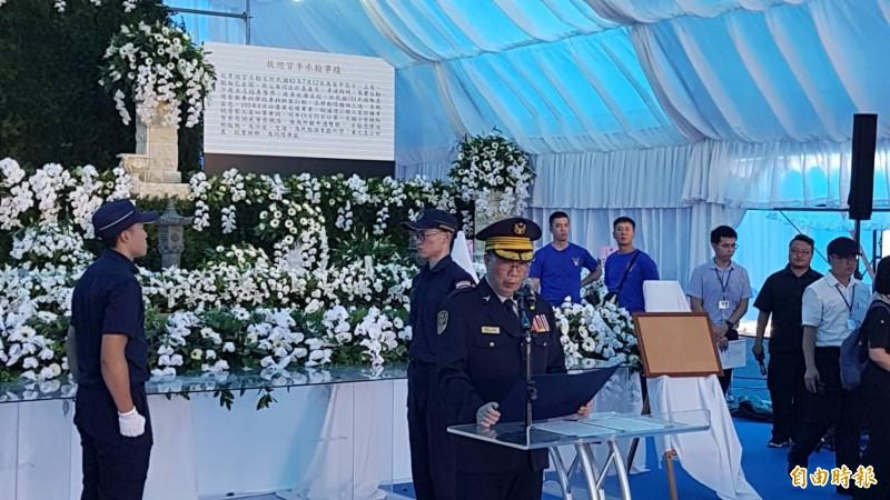 李承翰告別式預演,由鐵路警察局長江振茂擔任主祭。(記者丁偉杰攝)