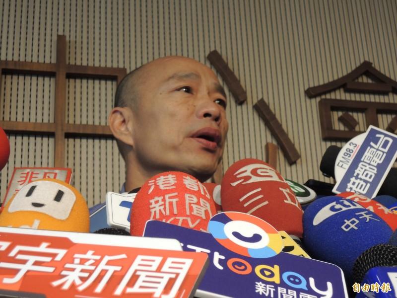 韓國瑜每天要面對許多議題,他今天指出,未來市政會口頭說明、國政會以書面答覆。(記者王榮祥攝)