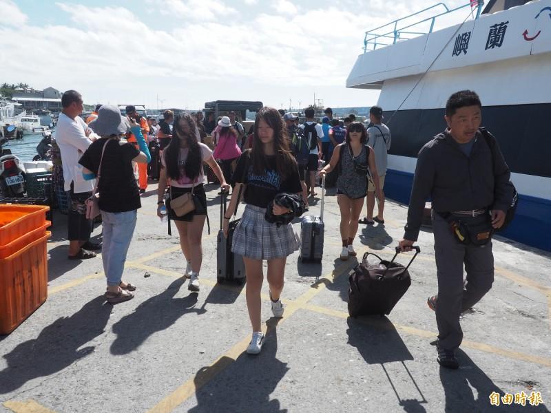 丹娜絲颱風逼近,綠島遊客提前結束行程,搭交通船返回台東。(記者王秀亭攝)