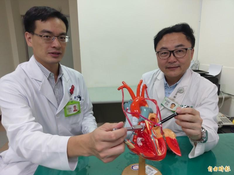 豐原醫院心臟內科主任曹承榮(右)及兒童心臟醫師林聖哲(左)接力治好李女的「心室中膈缺損」。(記者歐素美攝)