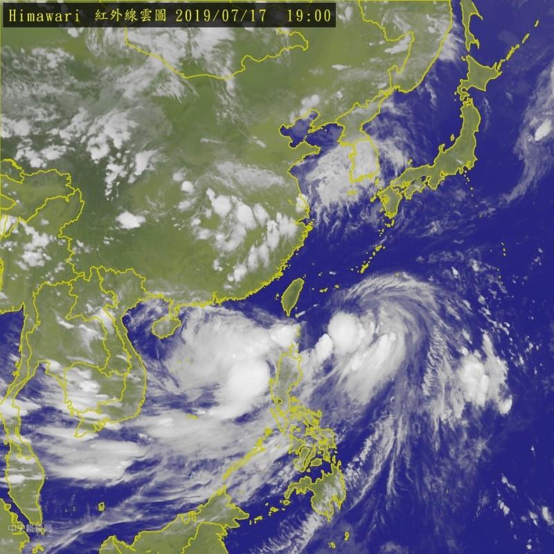 氣象局今晚8點30分已解除丹娜絲的陸上颱風警報。(中央氣象局提供)