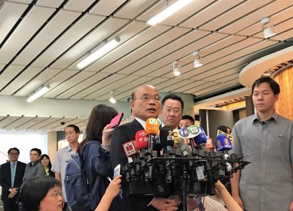 行政院長蘇貞昌今天表示,有境外的勢力或不安好心的人,利用台灣的開放、社會民主的體制,要破壞我們的民主。(記者王孟倫攝)