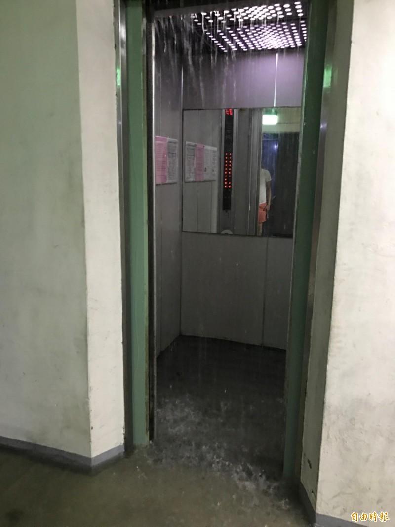 電梯內也下雨,實在誇張。(記者洪臣宏攝)