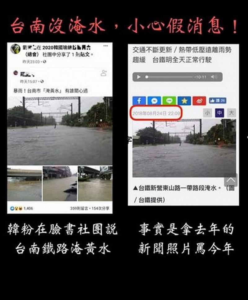 南市府澄清,這次台南沒有淹水,那是去年八月的淹水照,已報警追查。(記者蔡文居翻攝)