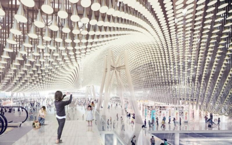 由英國團隊設計的第三航廈採雙屋頂設計,外側屋頂採波浪式設計,內側屋頂採用13萬個流動造型鋁管,宛如13朵花瓣壯觀美麗。(翻攝自桃機公司網頁)