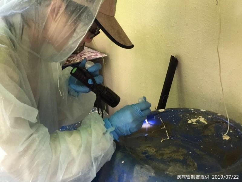 衛福部疾管署防疫人員持續加強台南市東區病媒孳生源查核工作。(疾管署提供)