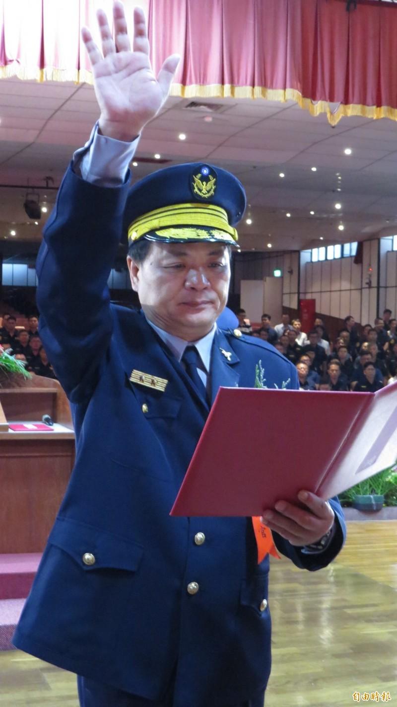 新任雲林縣警察局局長顏旺盛宣誓就職。(記者林國賢攝)