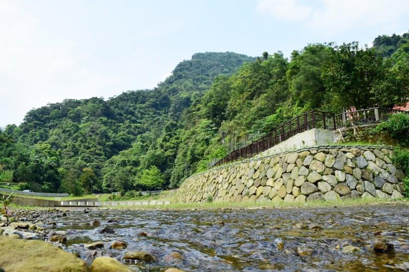 整治過後,溪流旁新設置漿砌石護岸並種植腎蕨。(新北市農業局提供)