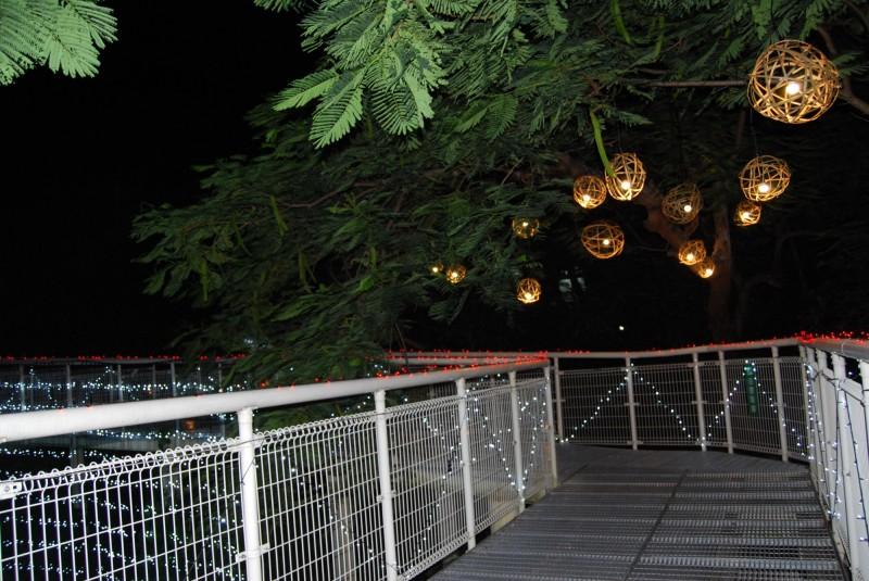 樹木高出步道,樹梢掛滿編織圓球,燈光亮起別有寧靜氛圍的情趣。(圖市公所提供)