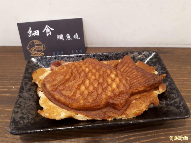 水蜜桃口味的鯛魚燒,可以吃到整顆果粒,飽滿又不膩,讓人一吃就愛上。(記者洪美秀攝)