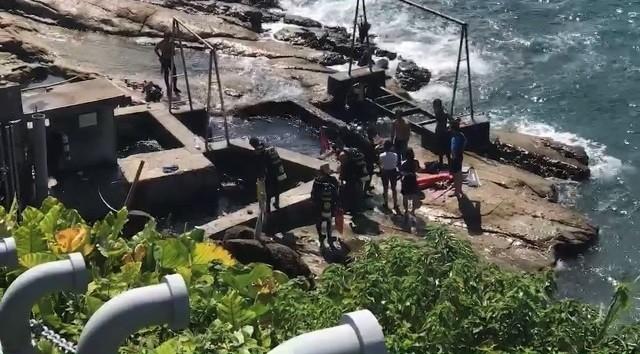 附近熱心的潛水客幫忙將洪男救上岸。(記者吳昇儒翻攝)