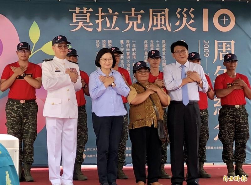 莫拉克風災10週年,蔡總統回到故鄉屏東,感謝當年幫助災區的每一個人。(記者羅欣貞攝)