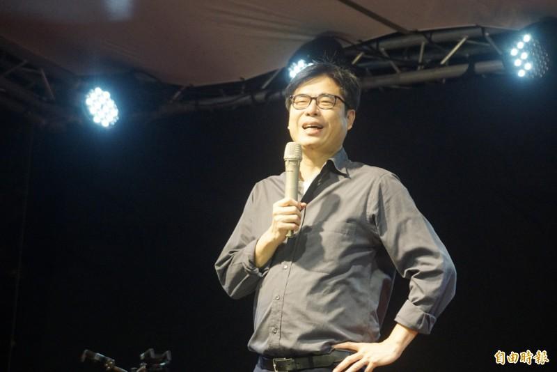 行政院副院長陳其邁「獻聲」支持陳柏惟。(記者黃佳琳攝)