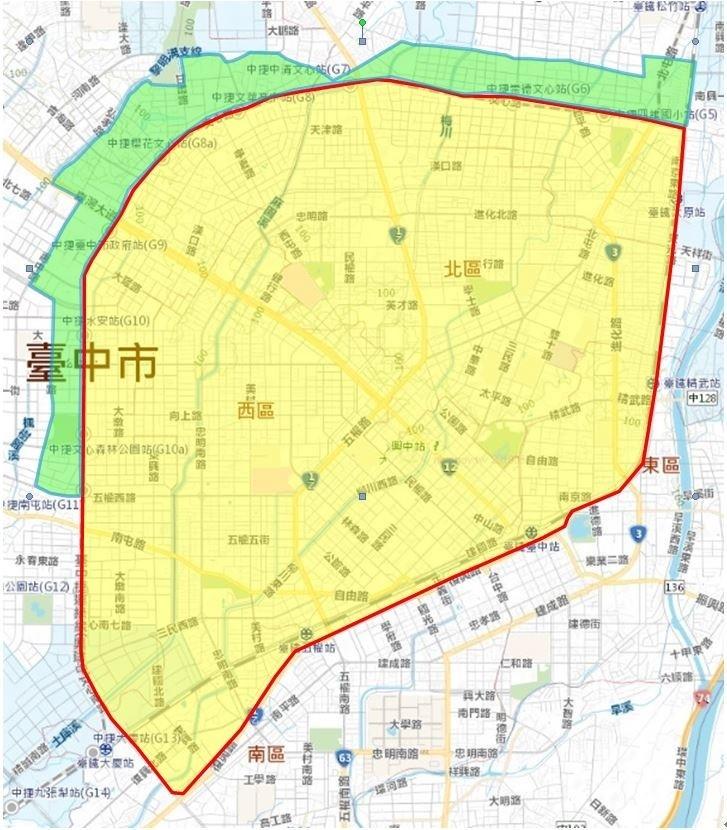 台中市二合一工程46小時停水及降壓區,包括北屯、西屯、南屯區、北、中、東、西、南區全部及部分區里。(黃色為停水區,綠為為減壓區,台水提供)