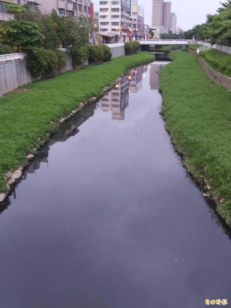 高市鳳山溪變成黑色臭水溝。(記者陳文嬋攝)