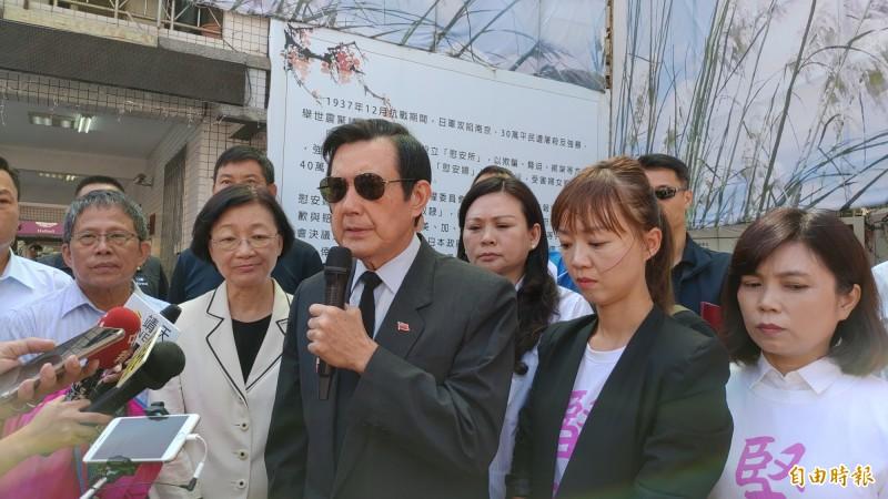 對國民黨未來有何的錦囊妙計?前總統馬英九說,「團結奮鬥救中國!」(記者蔡文居攝)