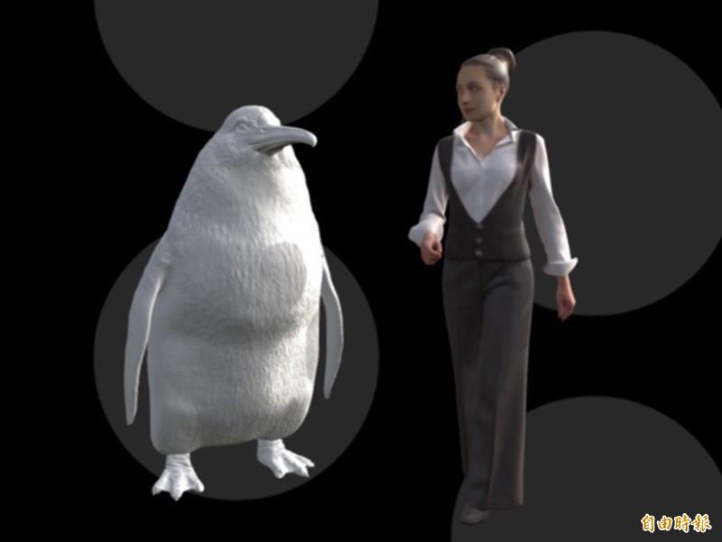 Crossvallia waiparensis巨型企鵝的高度示意圖。(翻攝自紐西蘭坎特伯雷博物館官網)