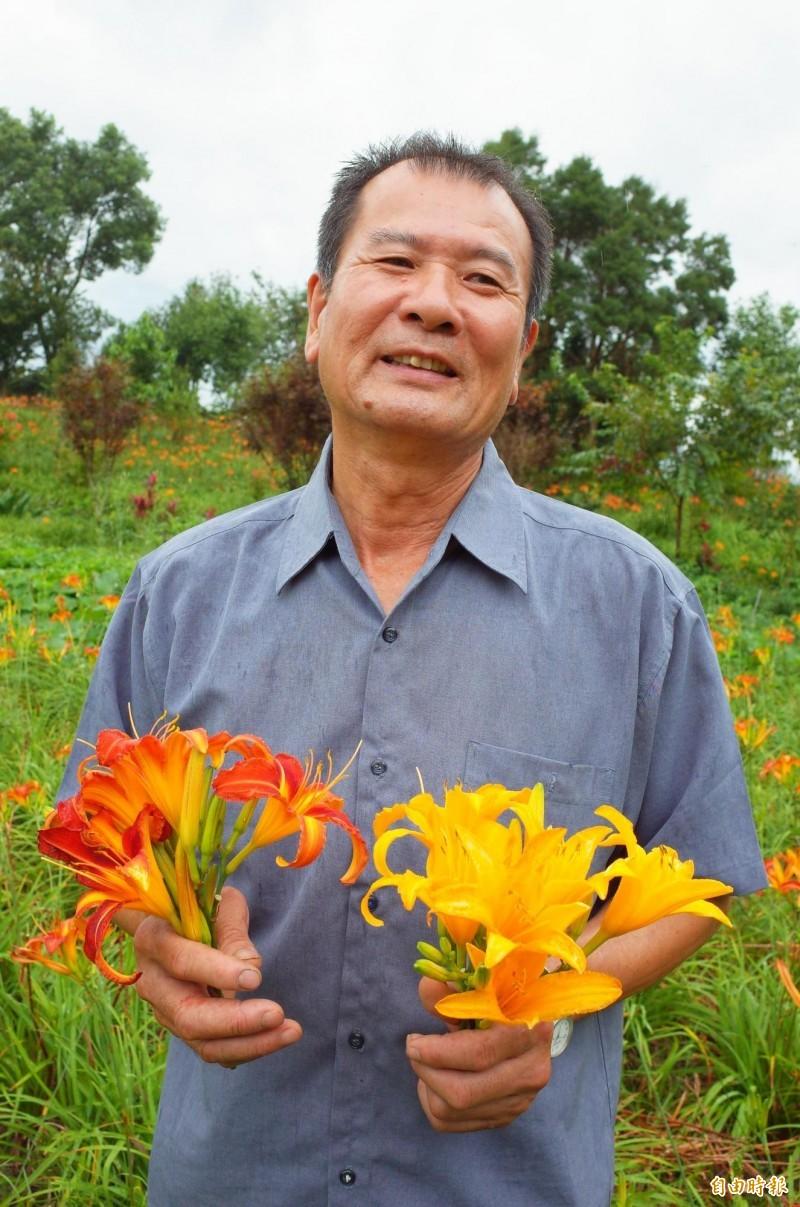 台灣西部60年前八七水災造成嚴重災情,現年64歲的陳錦竹在9歲時全家從嘉義搬到花蓮赤科山,種金針多年,還自行育成新品種金針花,希望可以推廣。(記者花孟璟攝)