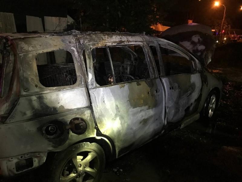 一輛休旅車今天凌晨在太平新興一街、太順路口旁的空地起火燃燒,車子燒成廢鐵,並在車內發現一具焦屍。(記者陳建志翻攝)