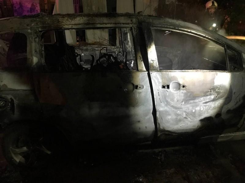 台中一輛休旅車今天凌晨起火燃燒,整輛車燒成廢鐵,並在車內發現1具焦屍。(記者陳建志翻攝)