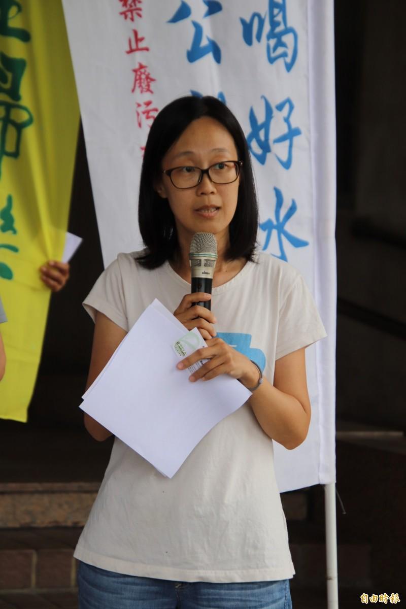 「我們要喝乾淨水行動聯盟」召集人陳翠琴呼籲中央政府,全面停止核發所有新竹縣所提的新都市計畫或是園區開發案。(記者黃美珠攝)